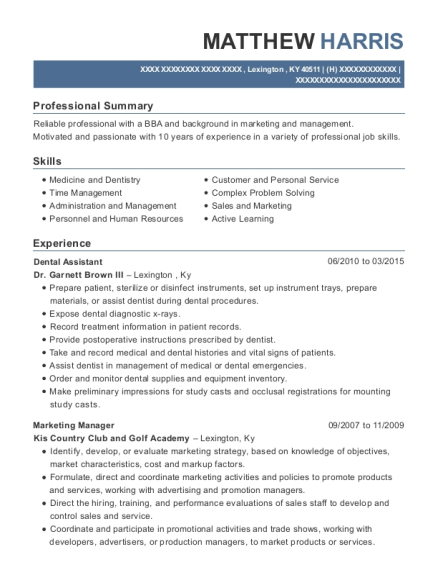 Dental Assistant resume example Kentucky