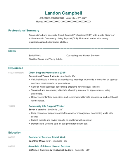 Direct Support Professional resume template Kentucky