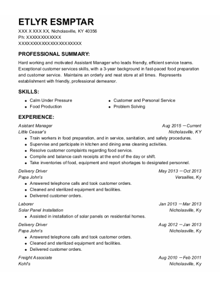 Delivery Driver resume template Kentucky