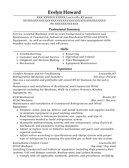 Refrigeration Mechanics and Installers resume example Kentucky