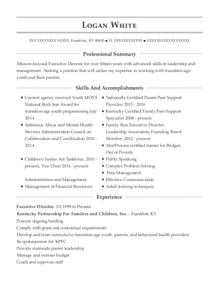 Executive Director resume sample Kentucky