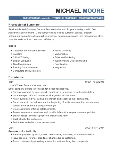 CSR resume format Kentucky