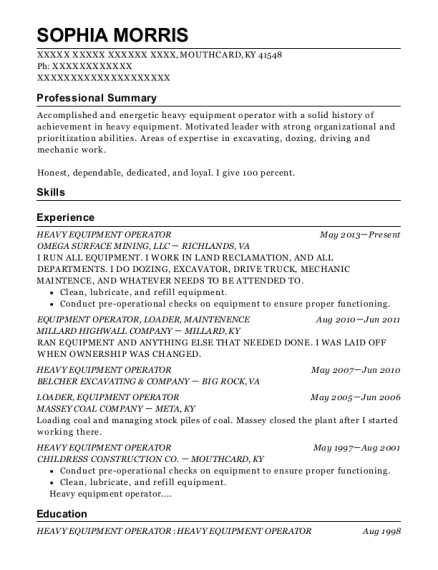 Heavy Equipment Operator resume sample Kentucky