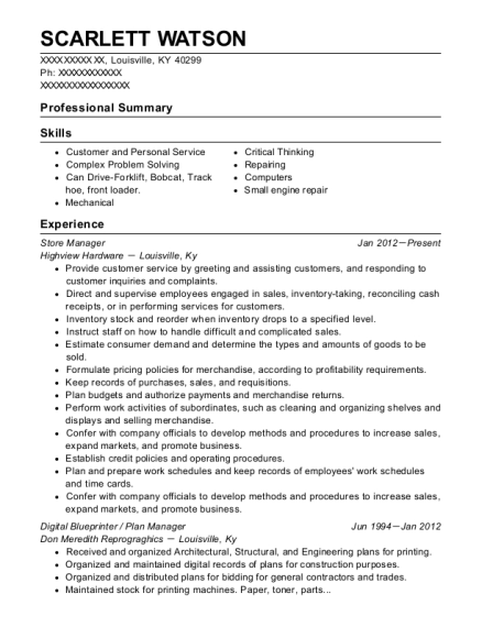 Store Manager resume template Kentucky