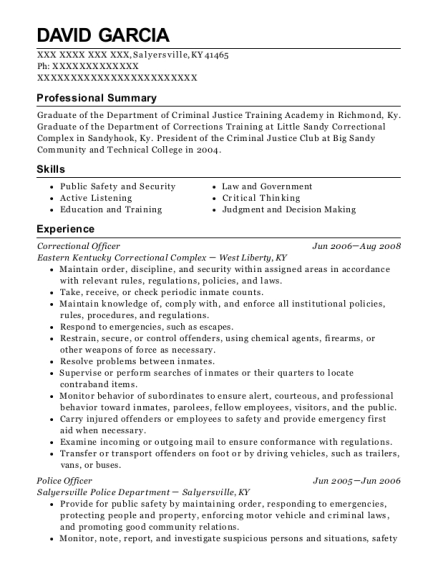 Correctional Officer resume template Kentucky