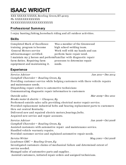 Service Advisor resume format Kentucky