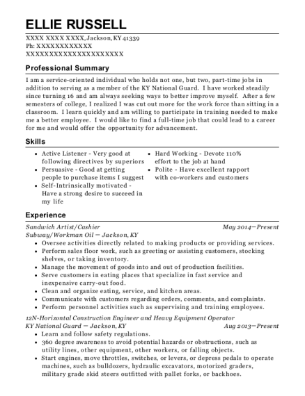 Sandwich Artist resume example Kentucky