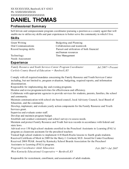 Family Resource and Youth Services Center Program Coordinator resume format Kentucky