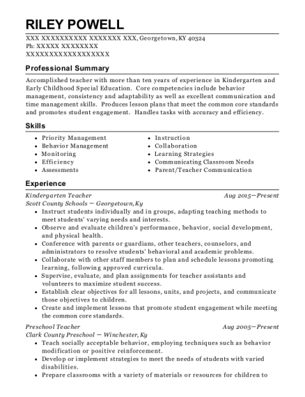 Kindergarten Teacher resume sample Kentucky