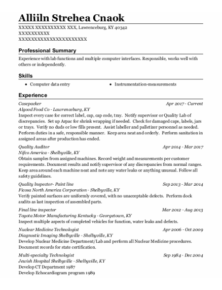 Quality Auditor resume format Kentucky
