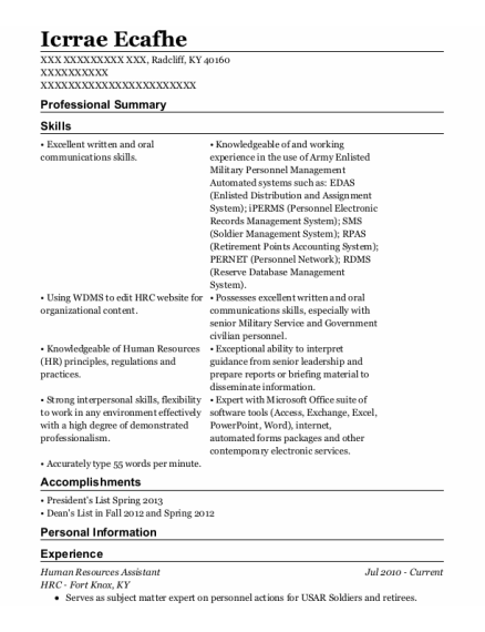 Human Resources Assistant resume format Kentucky