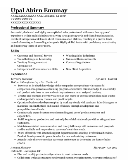 Territory Manager resume format Kentucky