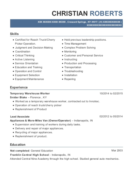 Temporary Warehouse Worker resume example Kentucky
