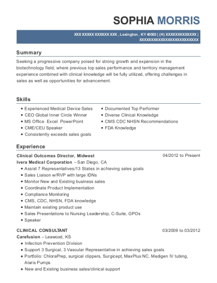 Clinical Outcomes Director resume example Kentucky