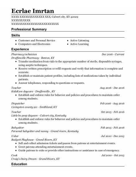 Pharmacy Technician resume format Kentucky