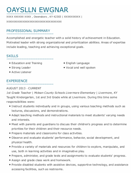 1st Grade Teacher resume example Kentucky
