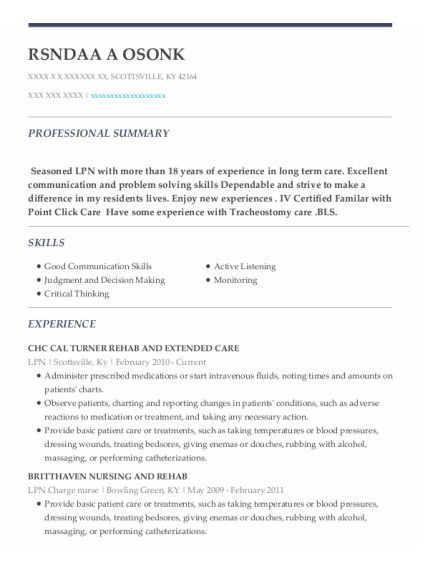 LPN resume sample Kentucky