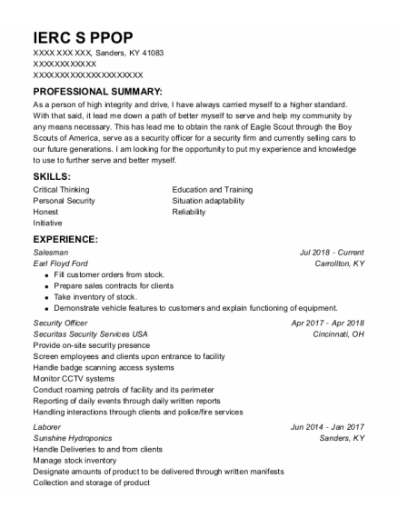 Salesman resume sample Kentucky