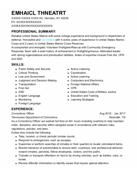 Corrections Officer resume sample Kentucky