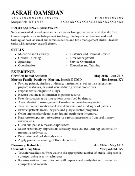 Certified Dental Assistant resume sample Kentucky