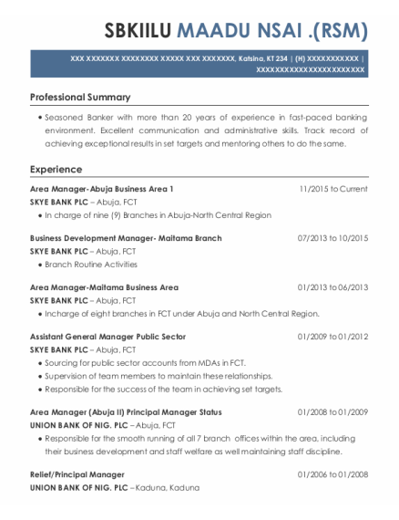 Area Manager Abuja Business Area 1 resume sample KT