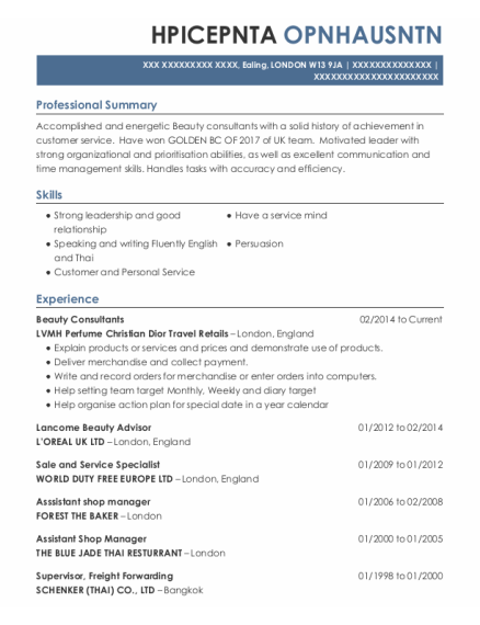 Assistant Shop Manager resume example LONDON
