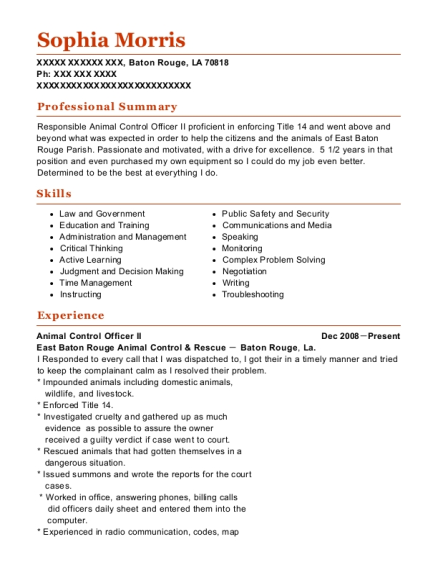 Animal Control Officer II resume template Louisiana