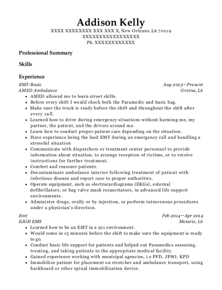 EMT Basic resume sample Louisiana