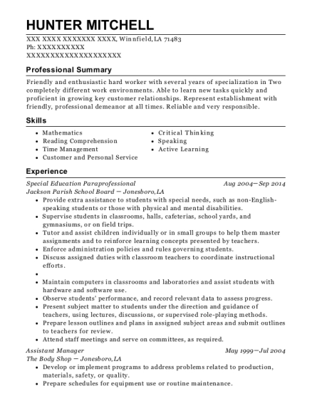 Special Education Paraprofessional resume example Louisiana