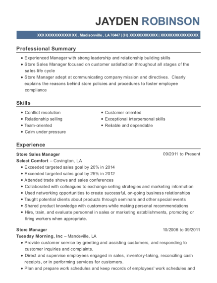 Store Sales Manager resume example Louisiana