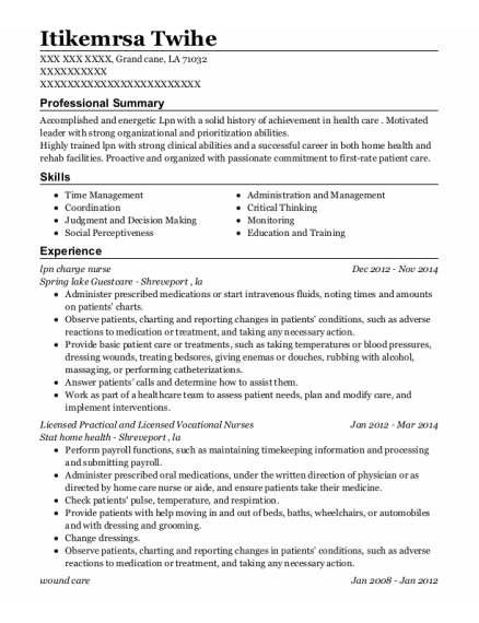 lpn charge nurse resume template Louisiana