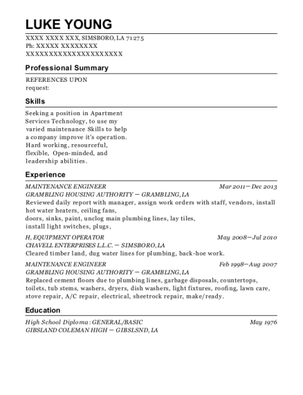 Maintenance Engineer resume sample Louisiana