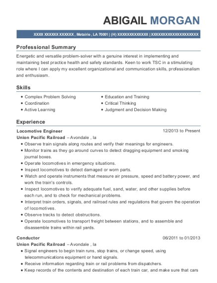 Locomotive Engineer resume format Louisiana