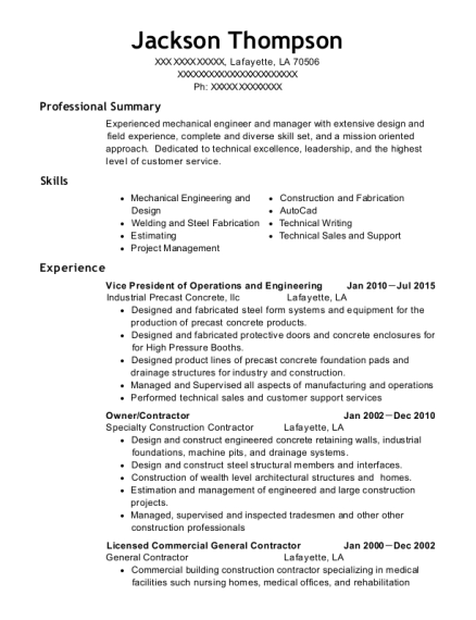 Vice President of Operations and Engineering resume template Louisiana