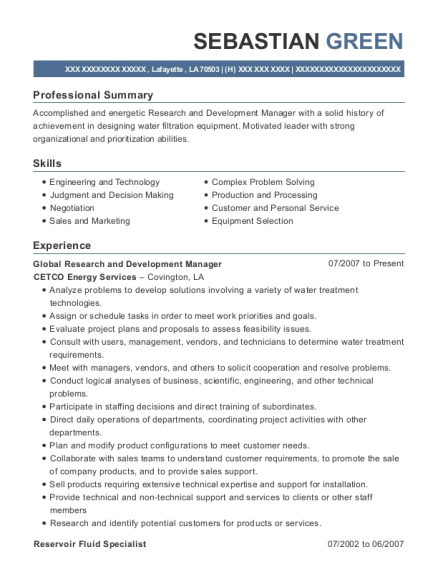 Global Research and Development Manager resume format Louisiana