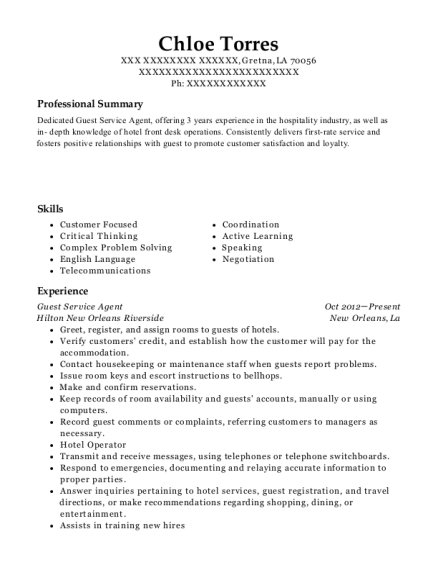 Guest Service Agent resume example Louisiana