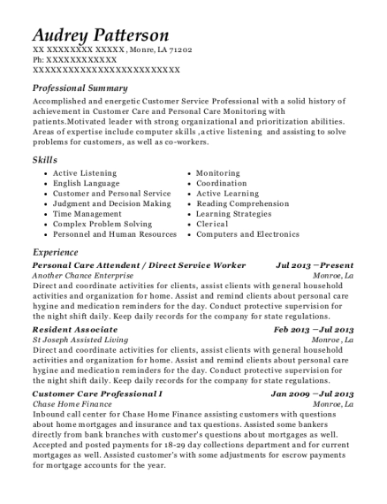 Personal Care Attendent resume example Louisiana