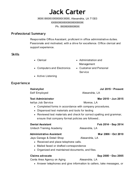 Hairstylist resume sample Louisiana
