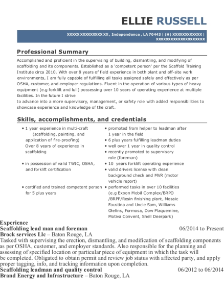 Scaffolding lead man and foreman resume template Louisiana