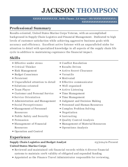Supply Chain Logistics and Budget Analyst resume format Louisiana