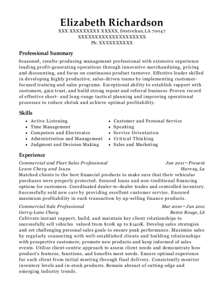 Commercial and Fleet Sales Professional resume template Louisiana