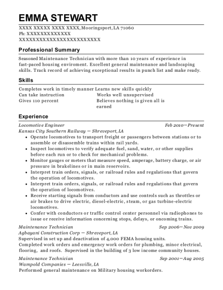 Locomotive Engineer resume example Louisiana