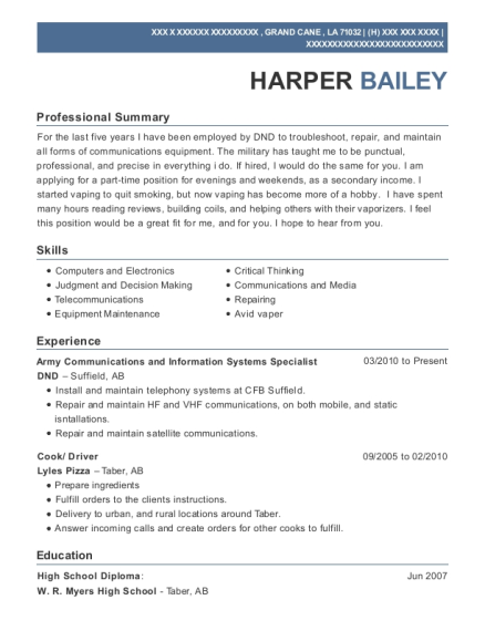 Army Communications and Information Systems Specialist resume template Louisiana