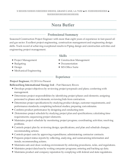 Project Engineer resume template Louisiana