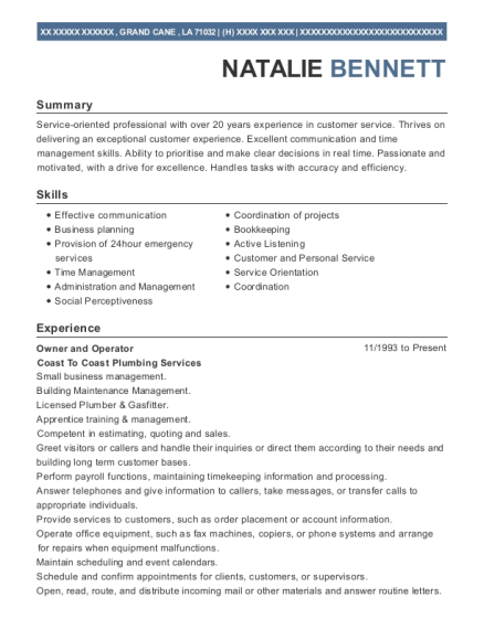 Owner and Operator resume format Louisiana