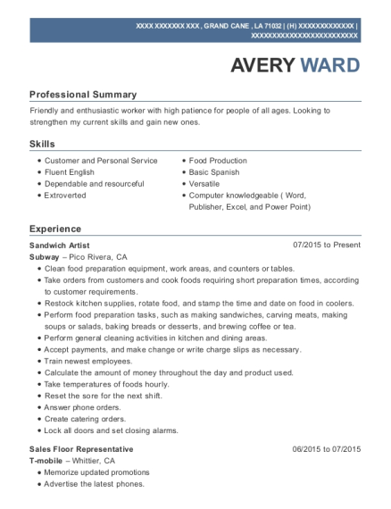 Sandwich Artist resume format Louisiana