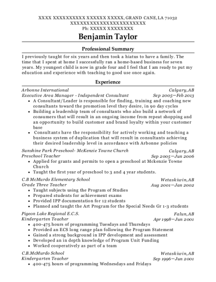 Executive Area Manager Independent Consultant resume template Louisiana