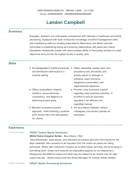 CRCST Central Sterile Technician resume template Louisiana