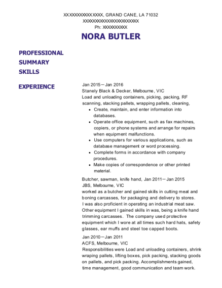 Butcher resume format Louisiana