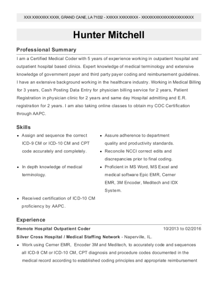 Remote Hospital Outpatient Coder resume template Louisiana